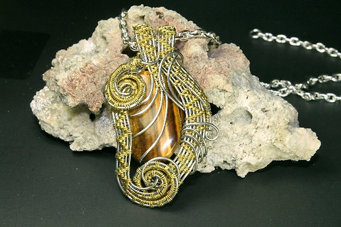 Beautifully Hand Woven Tiger Eye Pendent