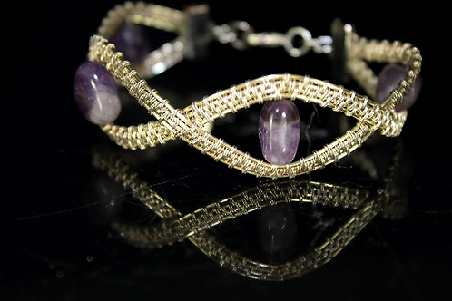 SilverWire and Amethyst Nugget Wire Woven Bracelet