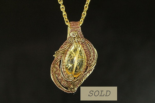 Copper and Bronze With A Yellow Crystal Pendant