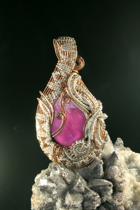 Silver And Copper Wire Wrapped Pink Stone Pendant