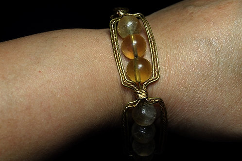 Rainbow Florite Wire Weaved Bronze bracelet