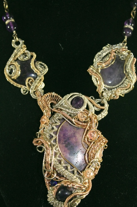 Wire Wrapped Amethyst Necklace, Earring Set