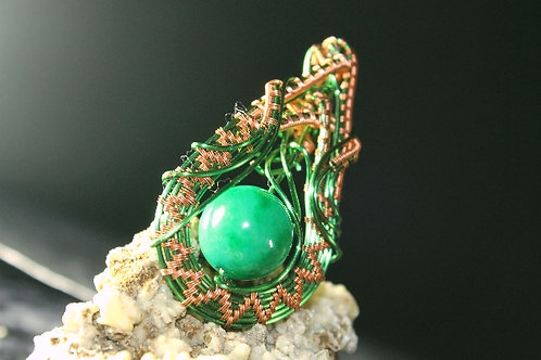 Wire Wrapped Green Bead in Copper Wire