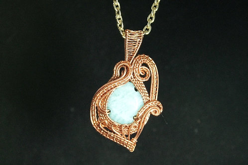 Copper Wire Wrapped With a Blue Stone