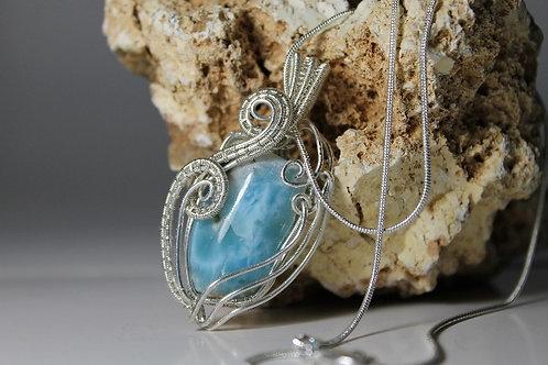 Handmade Sterling Silver Larimar Pendant