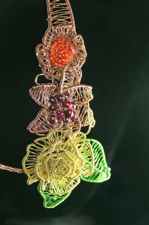 Copper Wire Woven Necklace with Yellow Rose