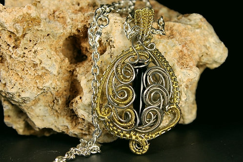 Bronze And Silver Wire Woven Pendent