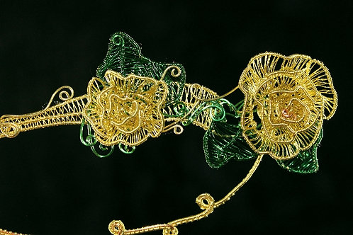Stunning Hand Woven Wire Yellow  Flower Necklace