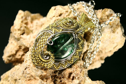 Stunning Green Crystal Wire Woven in Silver And Bronze Wire
