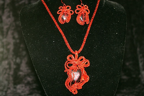 Red Wire Wrapped Viking Knot Necklace Set