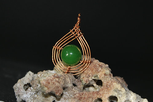 Copper Wire Pendant with a Jade Bead