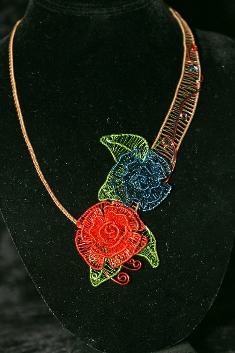 Red and Blue Flower Copper Necklace