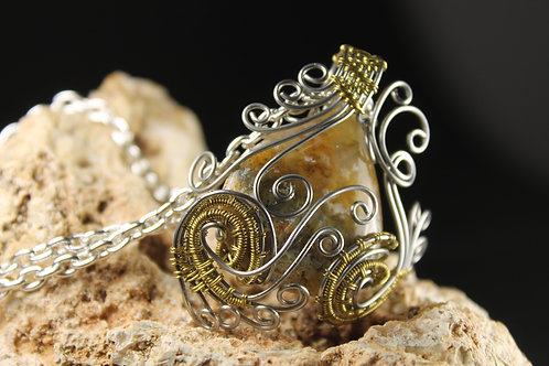 Plume Agate With Bronze And Silver Color Wire