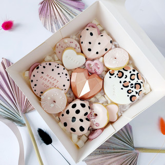 blush and rose gold treat box