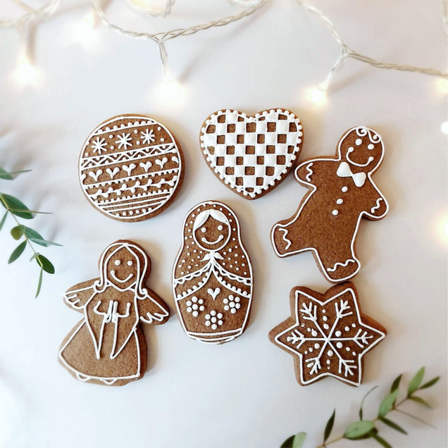 festive iced gingerbread biscuit cookies
