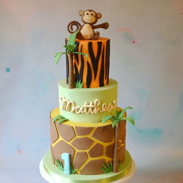 jungle animal 1st birthday kids cake