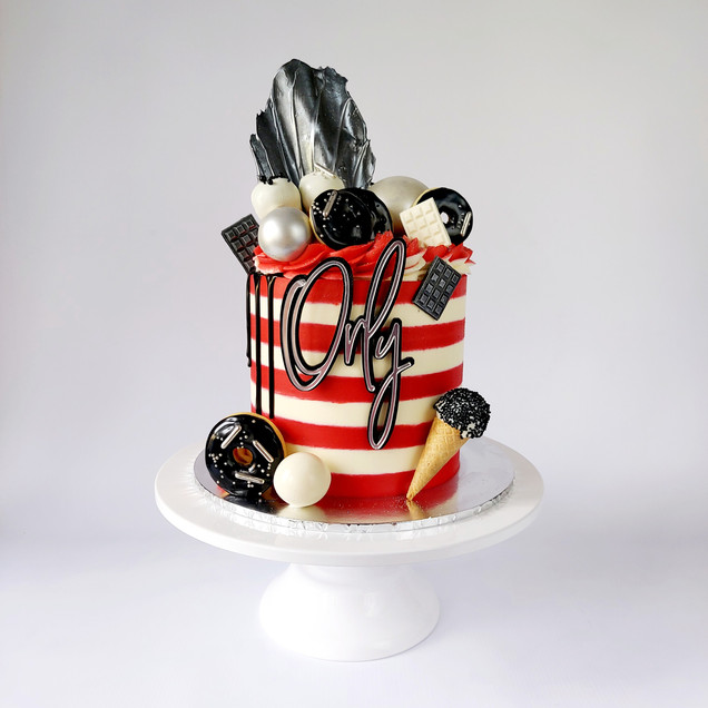 loaded stripe cake
