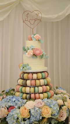 buttercream sugarflower cake and macaron tower