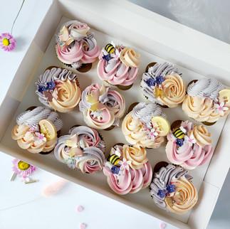 spring vibes pastel cupcakes