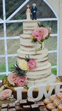 four tier semi naked cake