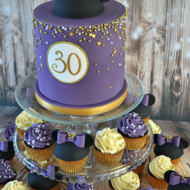purple Disney Minnie Mouse cake