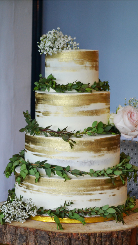 rustic gold painted semi naked cake