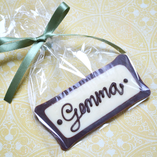chocolate name plaque wedding favour