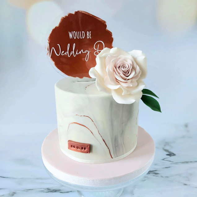 marble and copper would be wedding cake