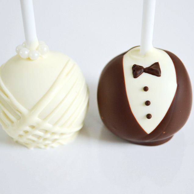 bride & groom cake pops
