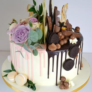 half half drip cake
