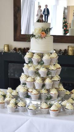 winter cupcake tower wedding cake