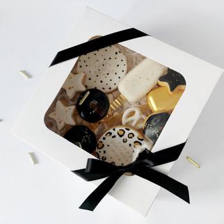 black white and gold treat box