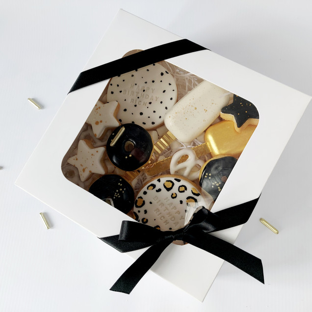 black white and gold treat box