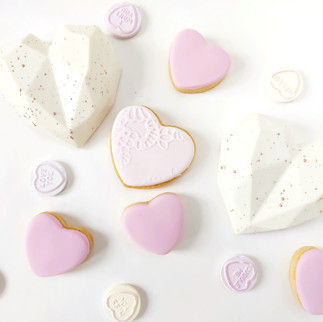 cake hearts and cookies