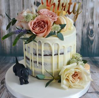 white chocolate and fresh flower drip cake