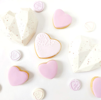 iced biscuits and geo cake hearts