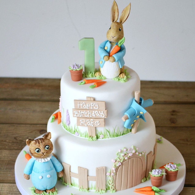 Peter Rabbit two tier birthday cake