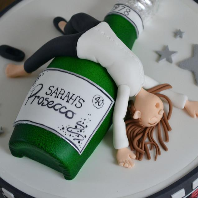 drunk figure Prosecco cake