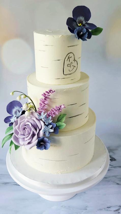 buttercream birch wedding cake