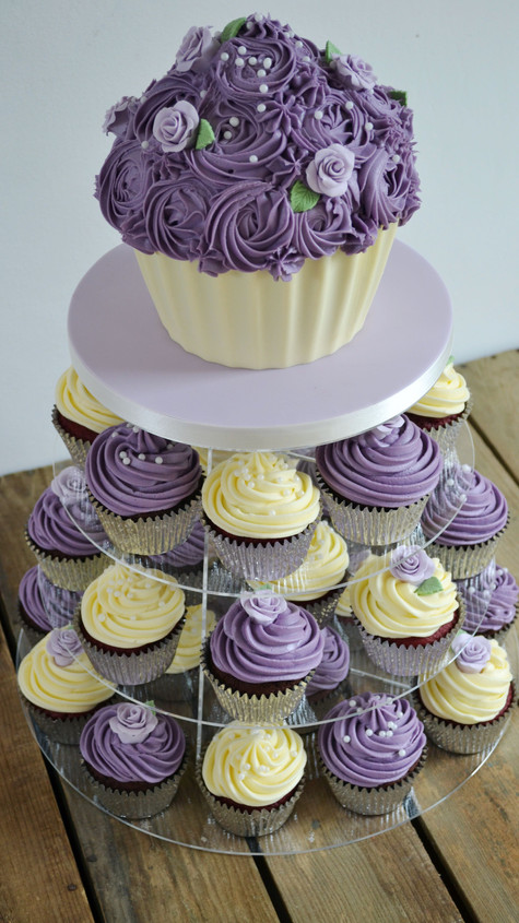 giant cupcake and cupcake tower lilac and cream