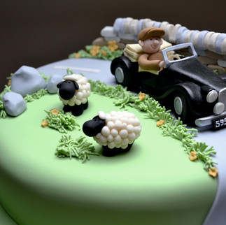 classic car in the countryside cake