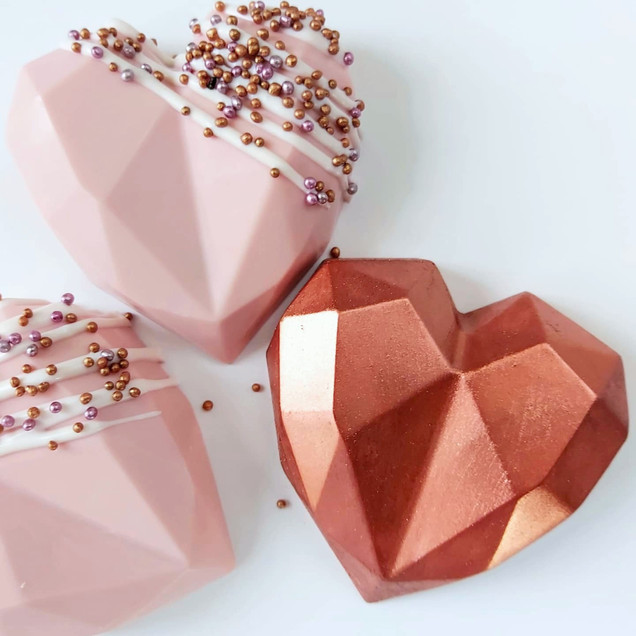 blush and copper geo cake hearts