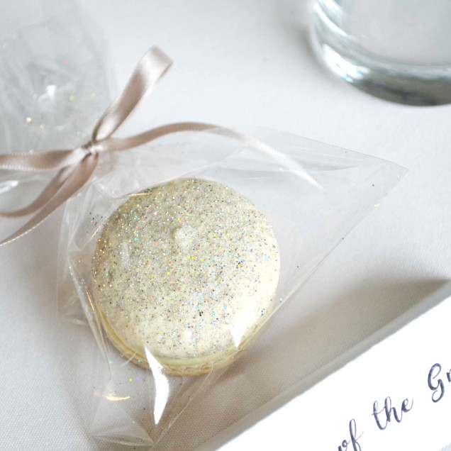 glitter macaron wedding favour