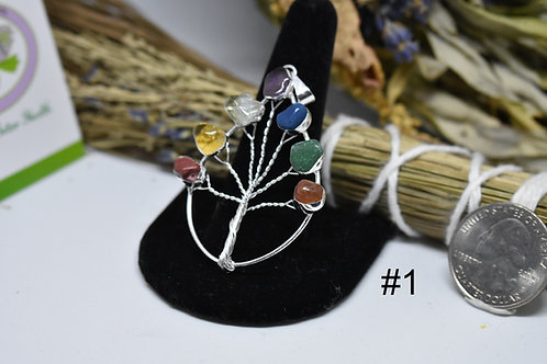 Various Teardrop Shaped Chakra Tree of Life Pendant