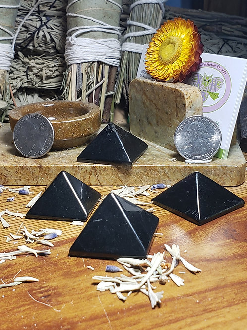 Shungite Pyramid 20 mm tall by 30 mm average