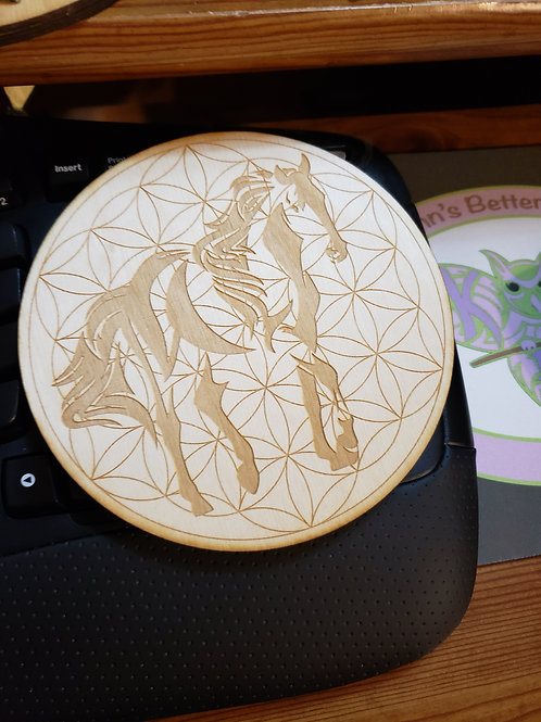 "Horse Flower of Life 6"" Grid Plate and Stones"