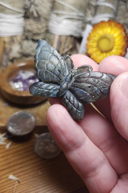 Unpolished Labradorite Butterfly