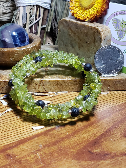 Peridot and Lava memory wire bracelet