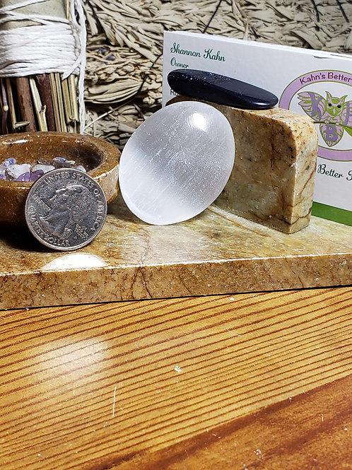 Selenite Mini Palm Stone, $5