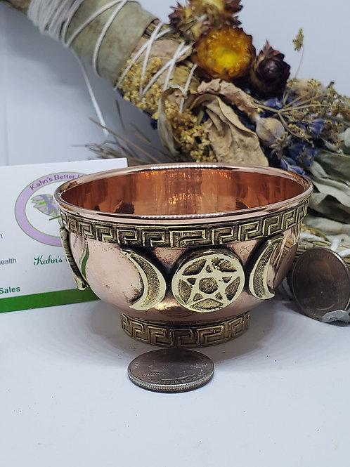 Triple moon copper bowl